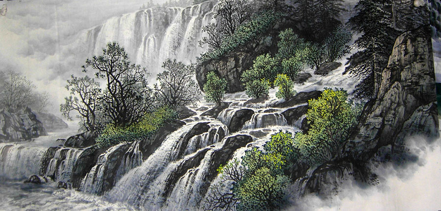 River Stream of Water Chinese Landscape Paintings art