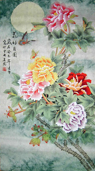 chinese peony Flowers paintings artwork wall scroll