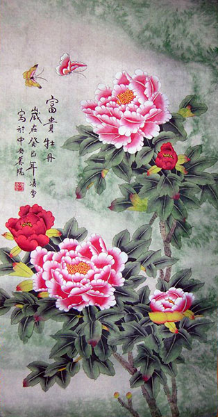 chinese peony paintings artwork wall scroll