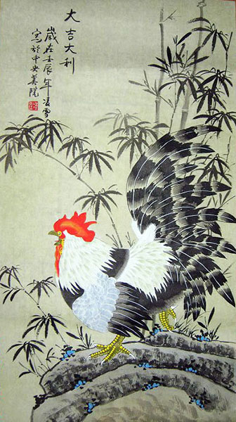chinese rooster paintings for sale artwork wall scroll