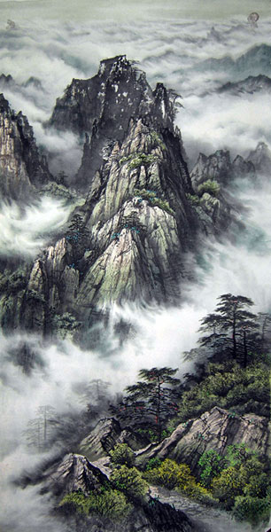 Chinese mountain landscape paintings for sale wall scroll