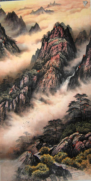 Chinese mountain landscape paintings scroll hanging