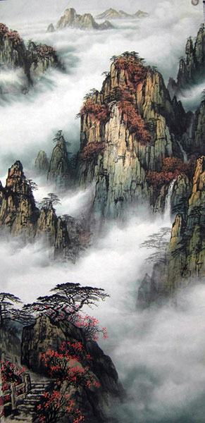 Chinese smoky mountain landscape paintings wall scroll