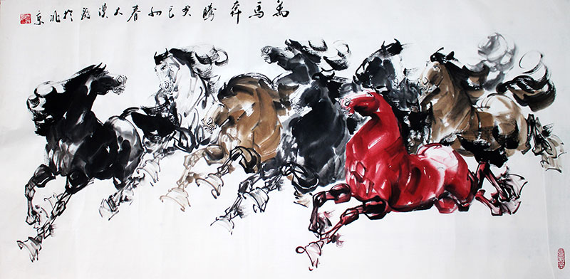 Original Chinese Eight Galloping Horses Painting Wall Art : Chinese ...