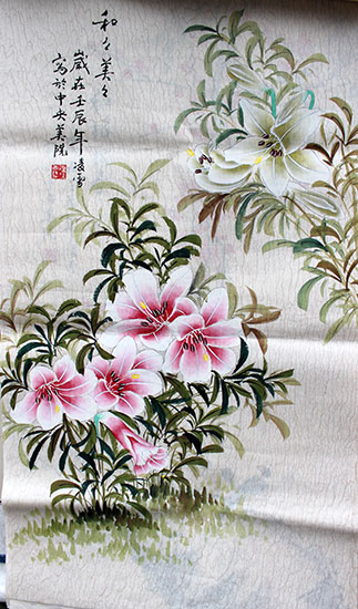 original Chinese paintings of flowers wall scroll for sale
