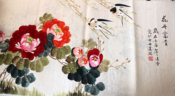 Wall Art Flowers And Birds : Rich blossoming chinese birds flowers painting wall art