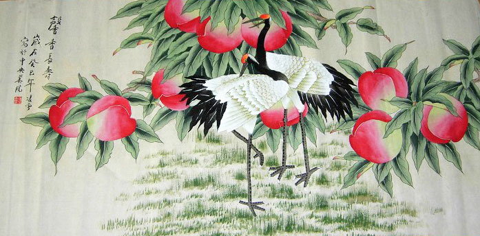chinese japanese crane art painting artwork