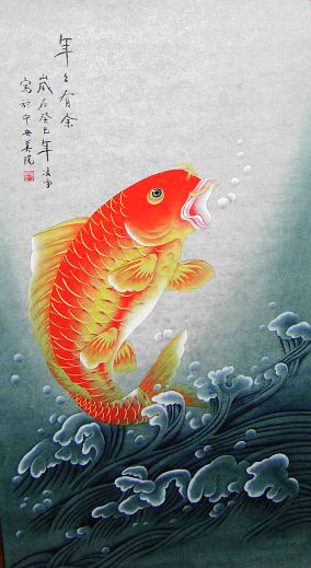 surplus original chinese koi fish painting wall scroll