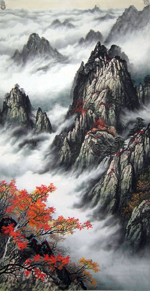 Chinese smoky mountain landscape paintings for sale wall scroll