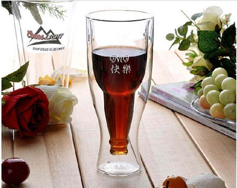 personalized engraved hopside down double wall beer glass chinese