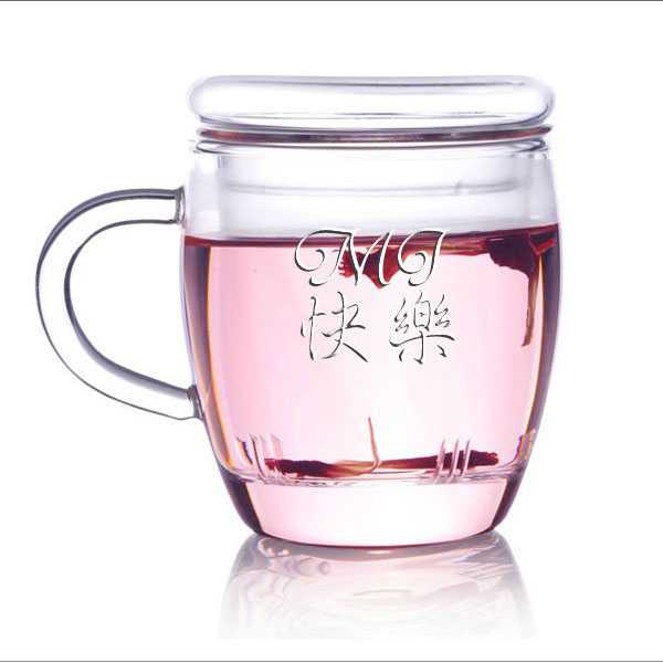 personalized engraved glass tea mug with inner wall lid chinese