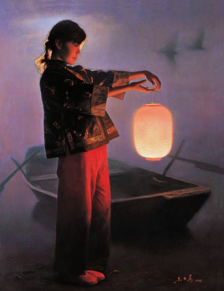 new product c3847 cd490 Chinese Beauty Lantern Oil Painting