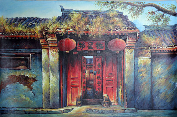 Hand Painted Chinese Folk Art Oil Painting Courtyard Door : door paintings - Pezcame.Com