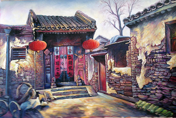 Hand Painted Chinese Folk Art Painting Oil on Cavans Old House :