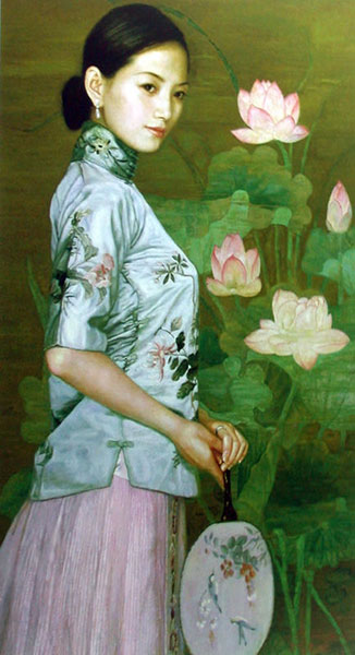 Hand painted chinese woman flowers oil painting chinese hand painted chinese woman flowers oil painting voltagebd Image collections