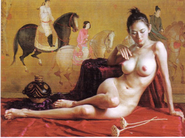 Nude Art Chinese Girl Oil Painting. Nude Oil Painting. Model: OBBP0004