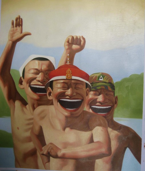 Hand Painted Chinese Funny Men Oil Painting