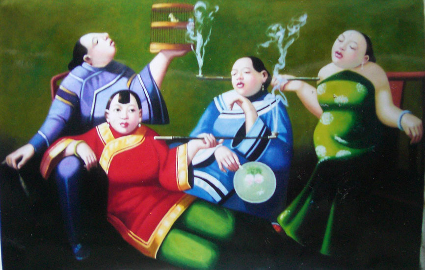 hand painted oil painting art chinese smoking women chinese