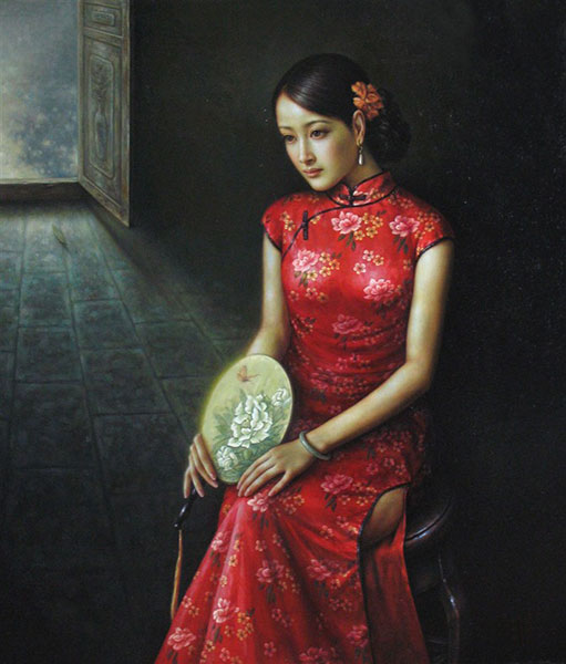 Hand Painted Qipao Woman Oil Painting on Canvas : Chinese ...