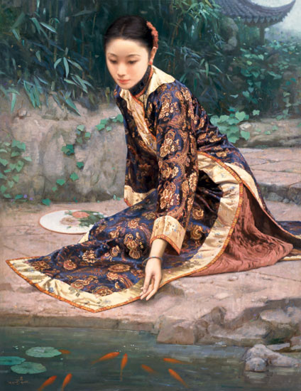 Chinese Woman Fan Oil Painting on Canvas :