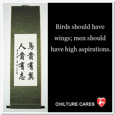 High Aspirations Chinese Calligraphy Wall Scroll