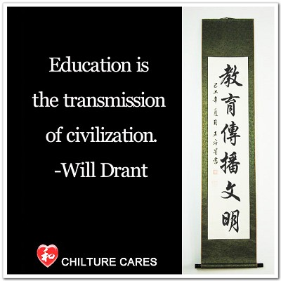 Education Transmission Civilization Chinese Calligraphy Scroll