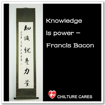 Knowlege is Power Chinese Calligraphy Wall Scroll