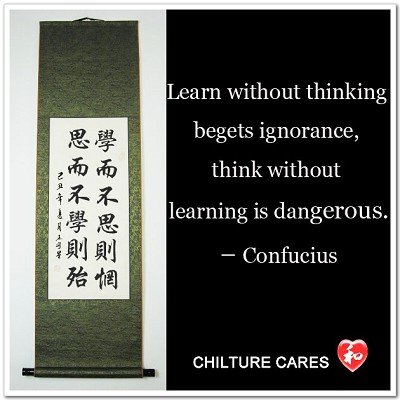 Learning and Thinking Confucious Quote Calligraphy Wall Scroll