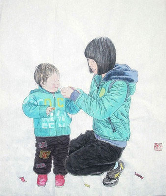 Mother and Daughter Original Chinese Painting Wall Art