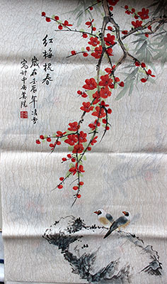 Plum Blossom and Birds Chinese Painting Wall Scroll