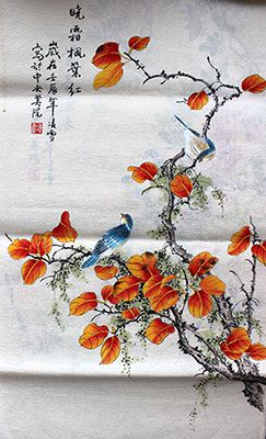 Maple Leaves Original Chinese Birds Painting Wall Scroll