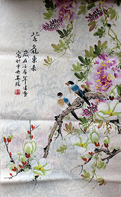 Zi Qi Dong Lai Chinese Birds Flowers Painting Wall Scroll