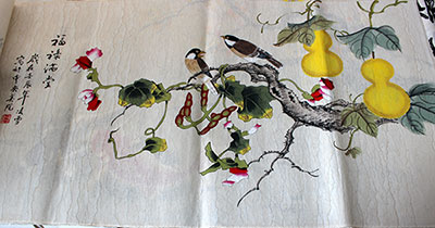 Happiness Fortune Original Chinese Birds Painting Art