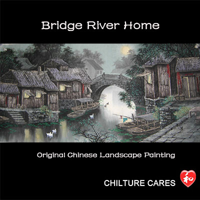 Bridge River Home Original Chinese Landscape Painting Wall Art