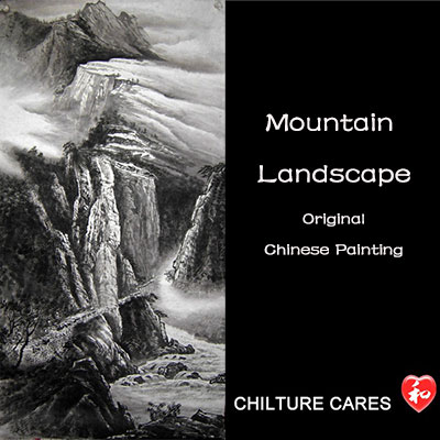 Original Chinese Mountain Landscape Painting Wall Scroll