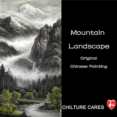 Original Chinese Mountain Landscape Painting Scroll Hanging