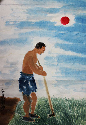 Father is Weeding Original Chinese Painting Wall Art