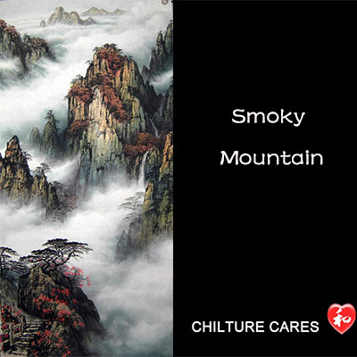 Original Chinese Smoky Mountain Painting Wall Scroll