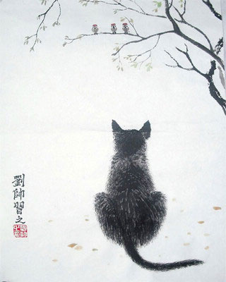 Cat Original Chinese Painting Wall Art