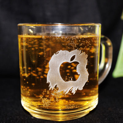 Engraved Glass Coffee, Tea Mug with Jobs in Apple