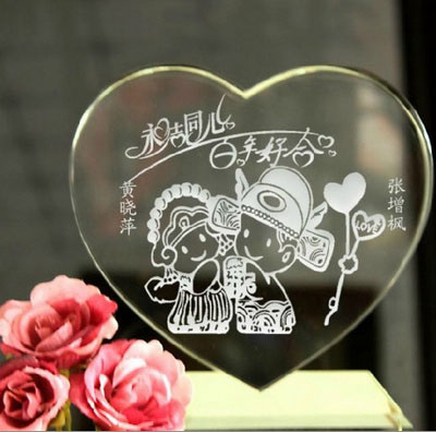 Engraved Chinese Traditional Bride Groom Crystal Wedding Gift