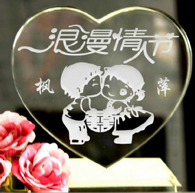 Engraved Crystal Chinese Characters Heart Valentine Gift