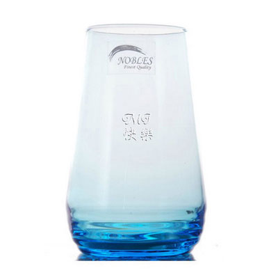 Personalized Engraved Tumbler Glass / Blue Crystal Glass