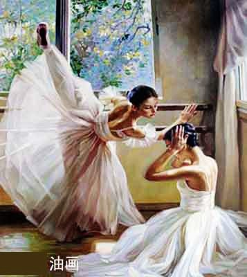 Hand Painted Oil Paintings of Ballet Dancers, Ballerina Oil Painting