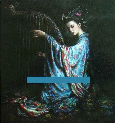 Beauty Chinese Oil Painting on Canvas
