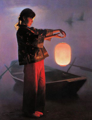 Chinese Beauty Lantern Oil Painting