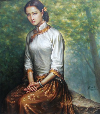 Chinese Beauty Oil Painting Art