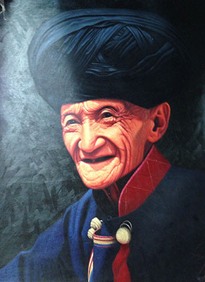 Handmade Large Chinese Minority Old Man Oil Painting