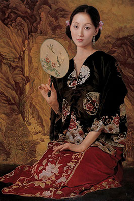 Hand Painted Chinese Woman with a Fan Oil Painting