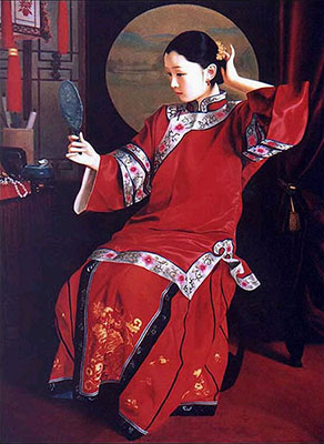 Look in the Mirror Chinese Woman Oil Painting